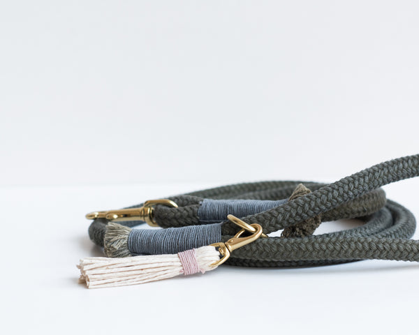 Forest Green Organic Cotton Rope Dog Leash