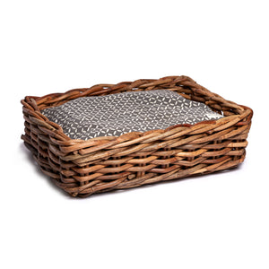 Grey Jaipur Woven Rattan Dog Bed