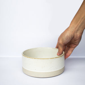 Natural White Stoneware Dog Water Bowl