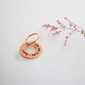 Stamped Copper Ring Dog Name Tag