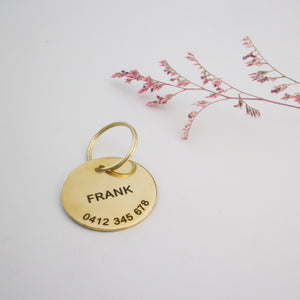 Stamped Brass Dog or Cat Name Tag