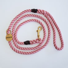 Load image into Gallery viewer, Rose Pink + Brass Rope Dog Leash