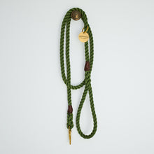 Load image into Gallery viewer, Moss Green + Brass Rope Dog Leash