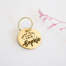 Load image into Gallery viewer, Vintage Brass Dog or Cat Name Tag