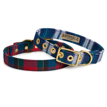 Load image into Gallery viewer, Blue Tartan + Brass Cafe Collar