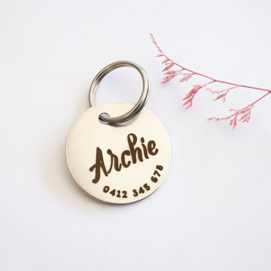 Vintage Minimal Silver Dog or Cat Name Tag