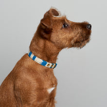 Load image into Gallery viewer, Blue Natural Stripe + Brass Cafe Collar