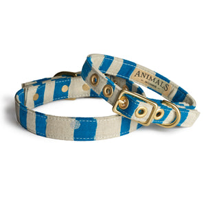Blue Natural Stripe + Brass Cafe Collar