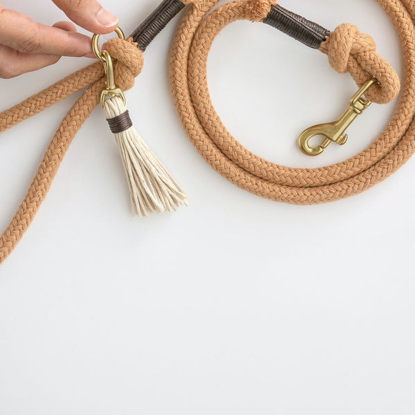 Caramel Brown Organic Cotton Rope Dog Leash