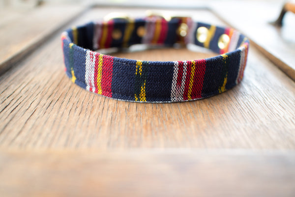 Navy Guatemalan Ikat + Brass Cafe Collar