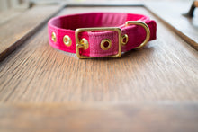 Load image into Gallery viewer, Pink Guatemalan Ikat + Brass Cafe Collar