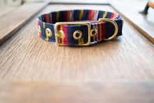 Load image into Gallery viewer, Navy Guatemalan Ikat + Brass Cafe Collar