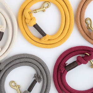 Plum Red Organic Cotton Rope Dog Leash
