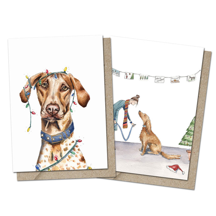 Pack of 6 Festive Dog Greeting Cards