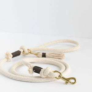 Ivory Organic Cotton Rope Dog Leash