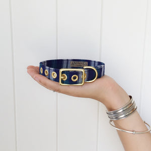 Navy Green Twill + Brass Cafe Collar