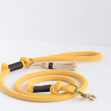 Load image into Gallery viewer, Sunflower Yellow Organic Cotton Rope Dog Leash