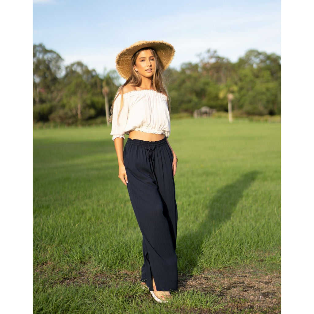 Long loose fitting wide leg pant natural fabric in Indigo colour like a deep navy drawstring elastic waist for comfort