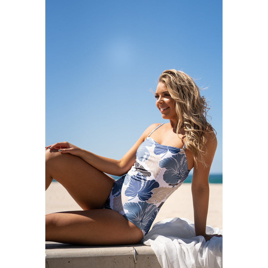 Cabana Swimsuit-Steel Hibiscus,Swimwear, LATUTTI SWIM- Style Collective