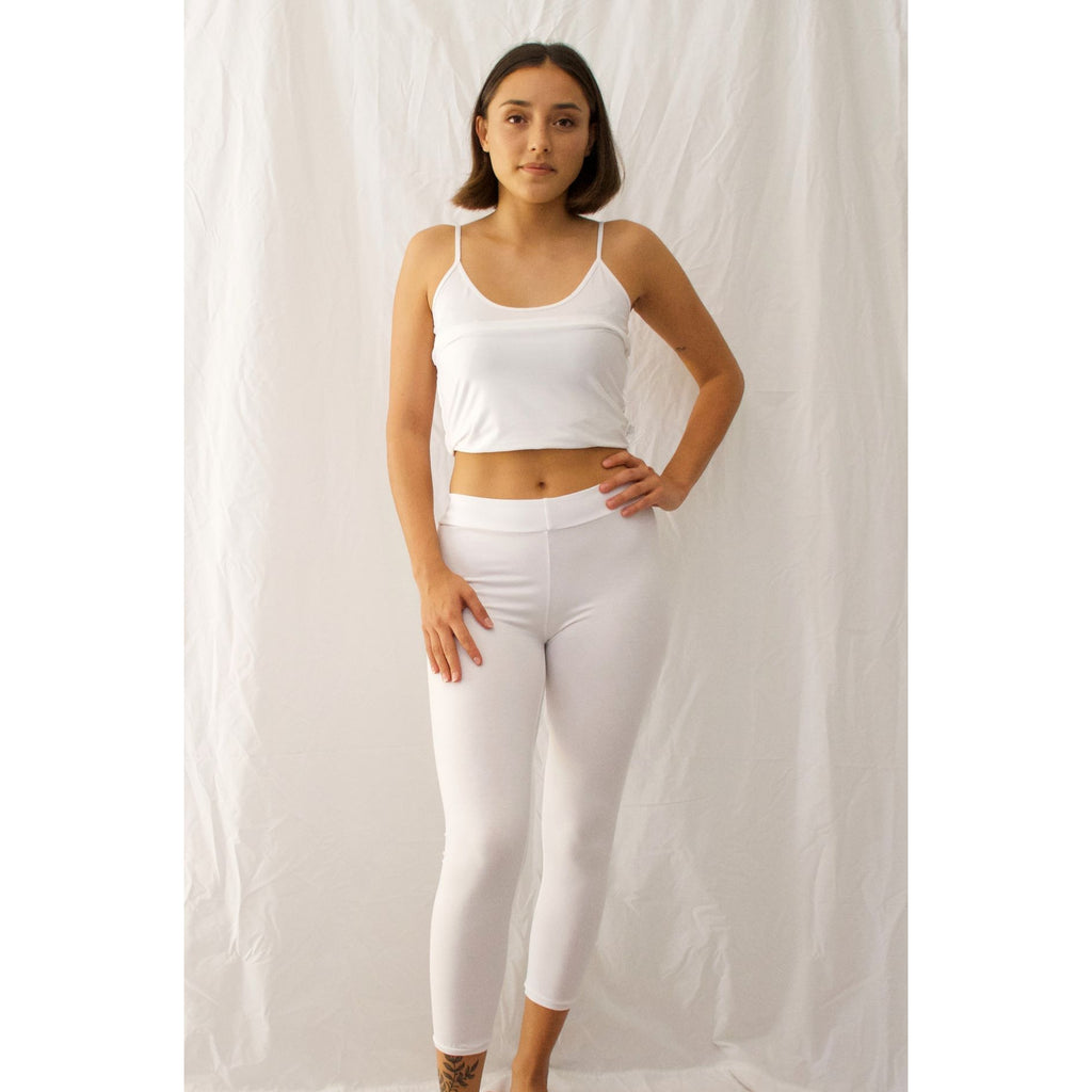 Leggings Capri Length-White