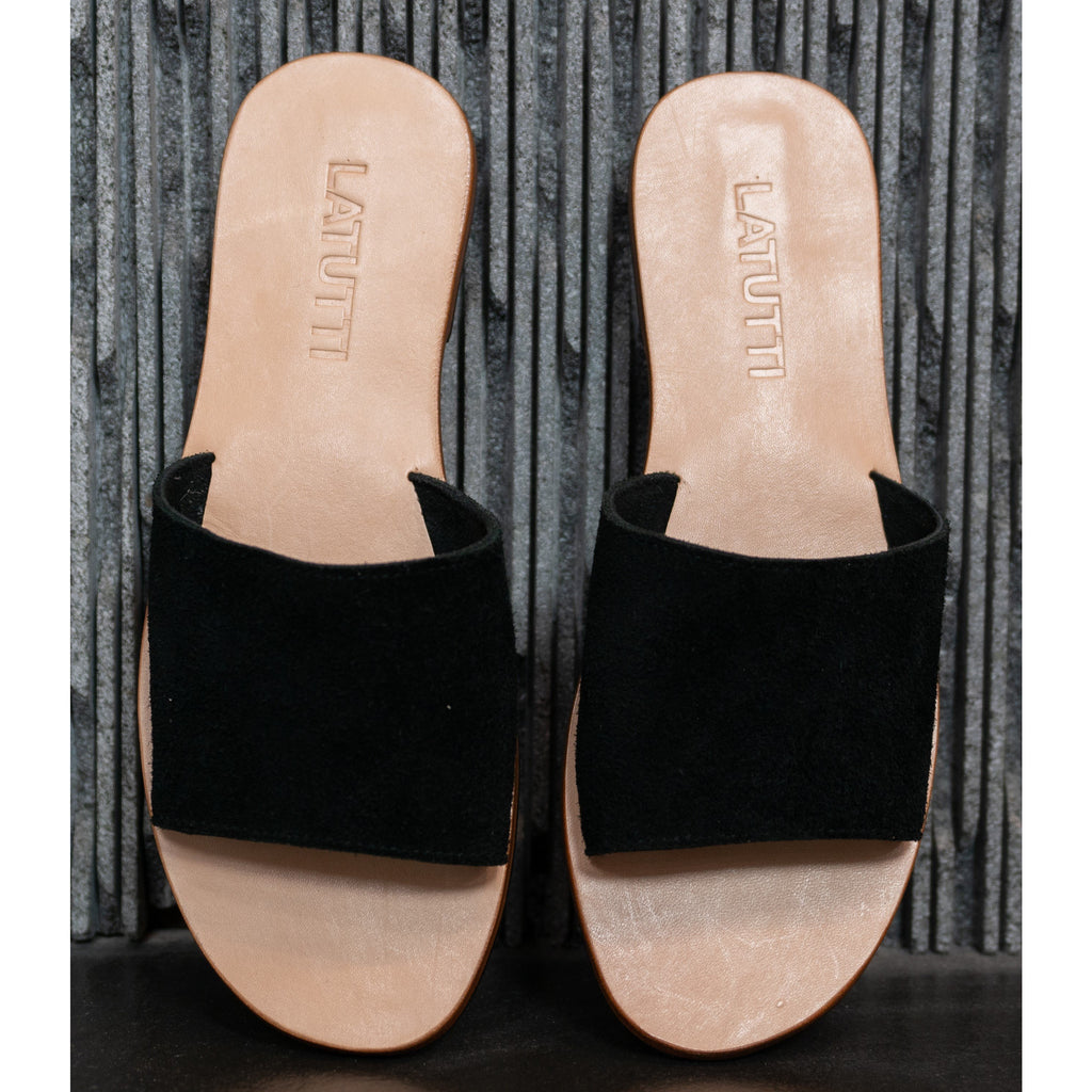 Suede Slide-Black Suede,Shoes, Latutti,- Style Collective