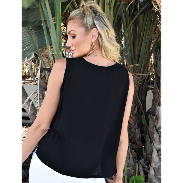 Helen Cami Top-Black Crinkle