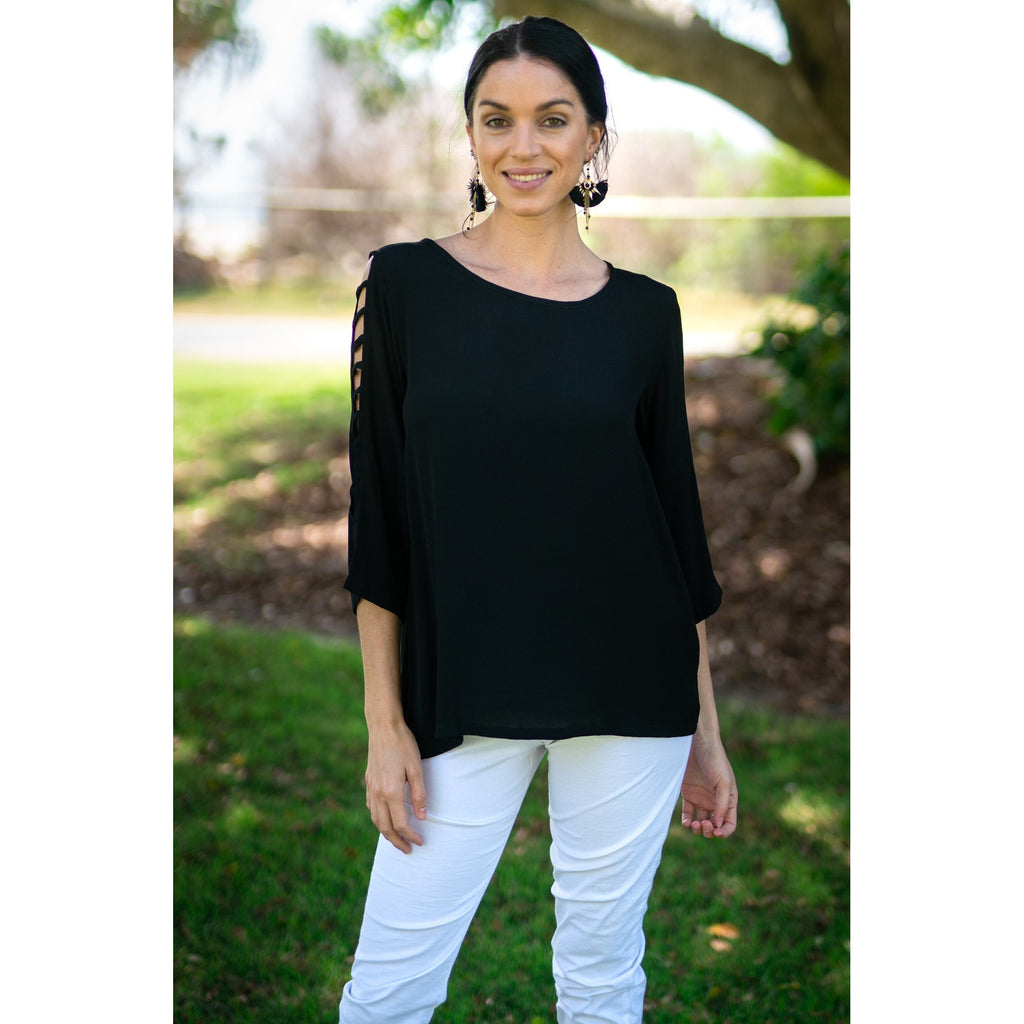 Amy Top-Black Moss Crepe,Top, Latutti,- Style Collective