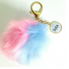 custom name bi colour furball keychain