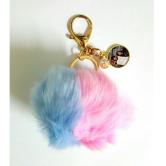 custom photo dual colour furball keychain
