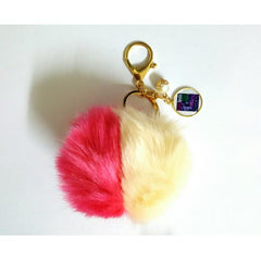 personalized photo dual colour furball keychain