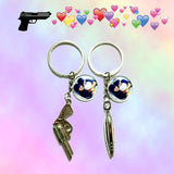 Couple Gun and Bullet Keychains