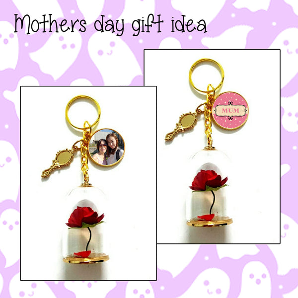 Mothers Day Beauty and the Beast Keychains