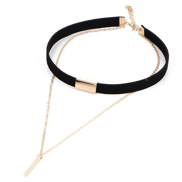 Leather Gold Chain Choker