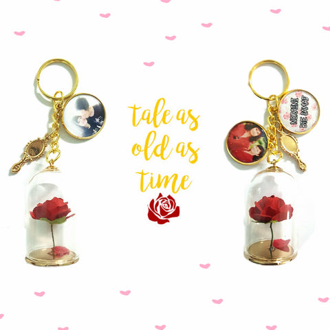 Beauty and the Beast Rose Keychains