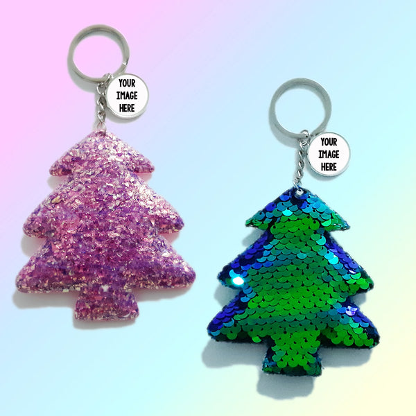 Christmas Tree Glitter Sequins Keychains