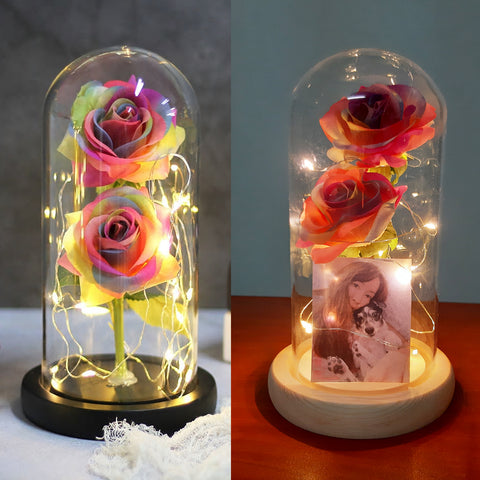 Double Rainbow Rose Jar with Lights