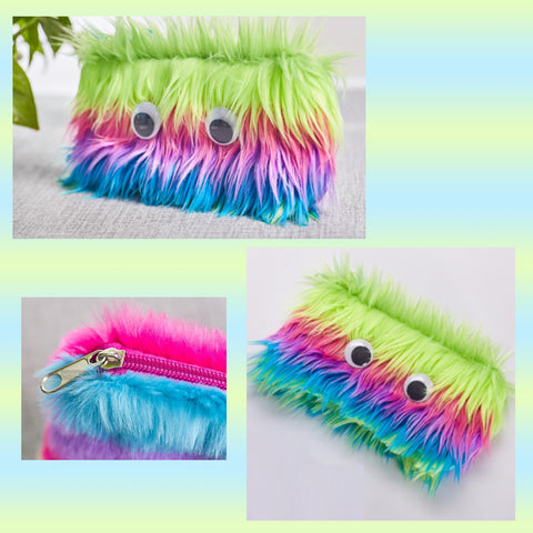 Rainbow Furry Googly Eyes Pouch