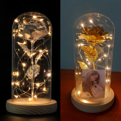 Gold Rose Jar with Lights