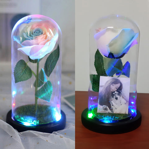 Galaxy Rainbow Rose Jar with Lights