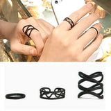 Black Stack Rings [Set of 3]