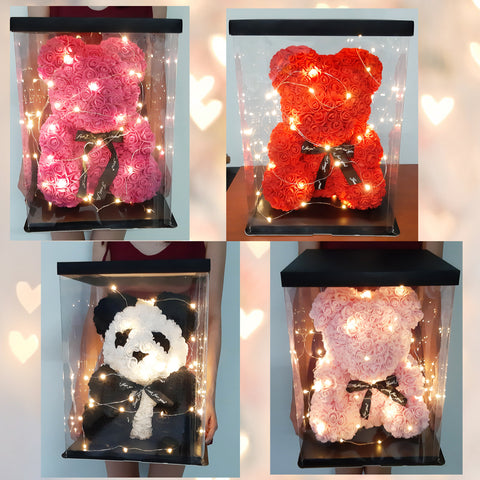 Rose Bears (40cm) with Lights