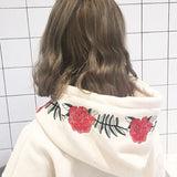 Rose Embroidered Hoodies