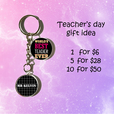 Teachers Day Keychains - Two Circle Charms