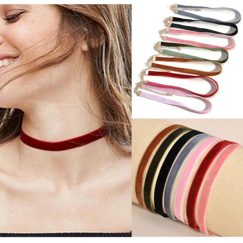 Velvet Chokers Plain [Set of 7]