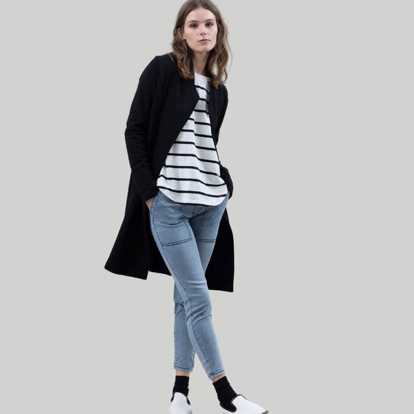 Striped Crew and Drawstring Skinny Jean