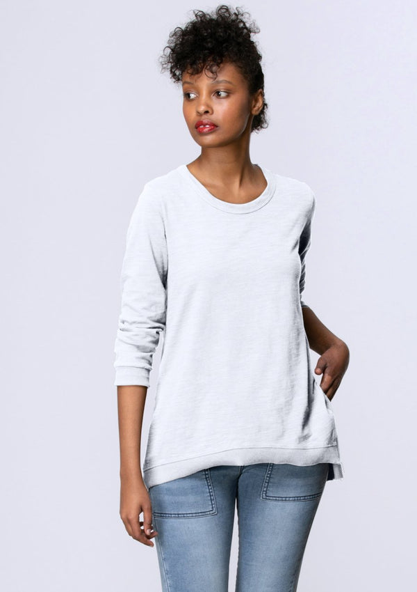 Long Sleeve Side Split Tee in White
