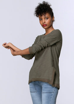 Long Sleeve Side Split Tee in Khaki