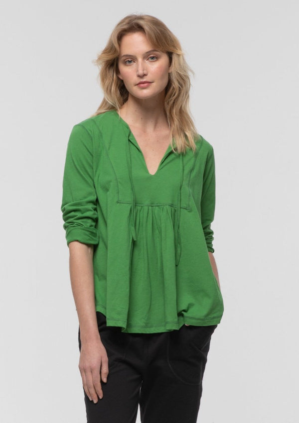 3/4 Sleeve Tie Front Boho Tee in Apple - Miles From