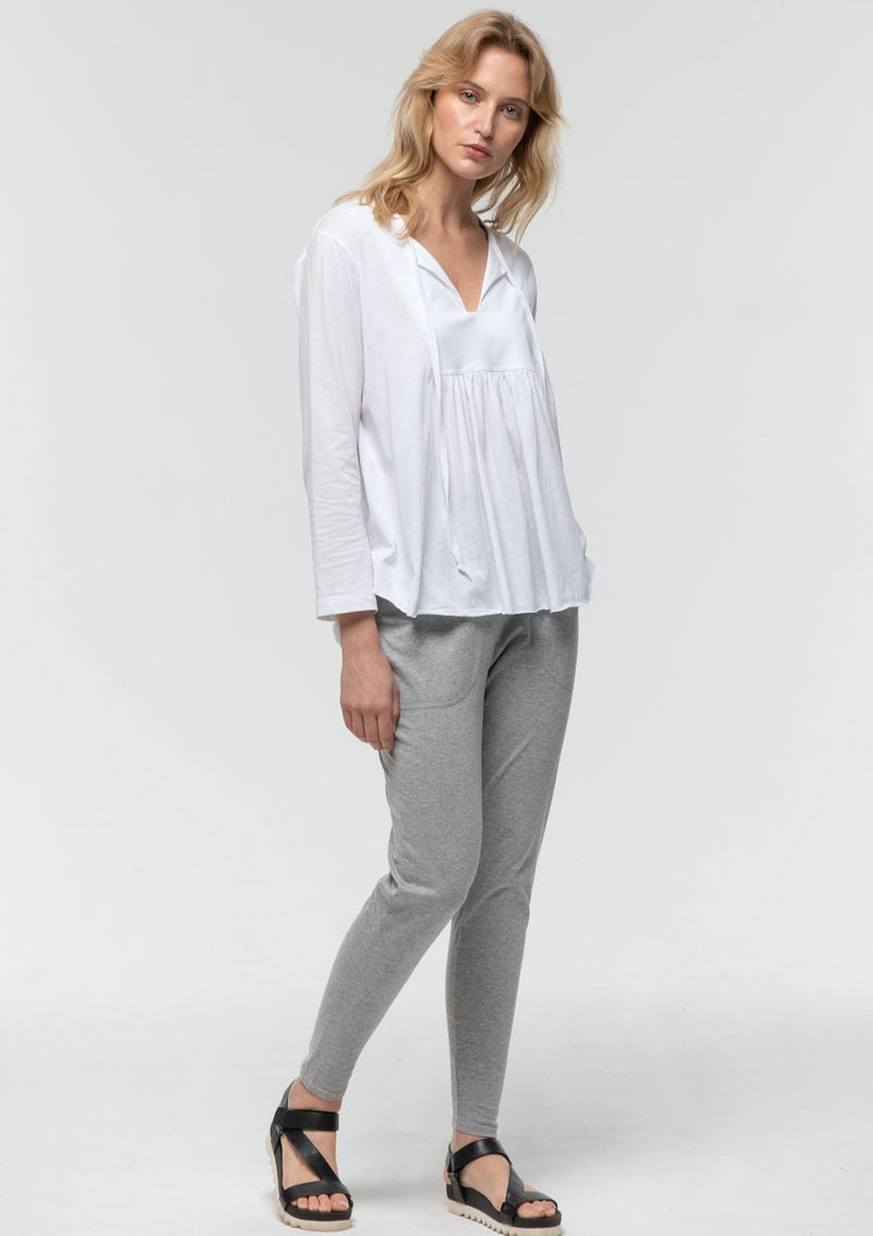 3/4 Sleeve Tie Front Boho Tee in White - Miles From