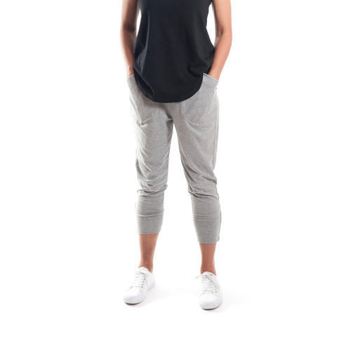 Three Quarter Cotton Zip Pant in Grey Marle - Miles From